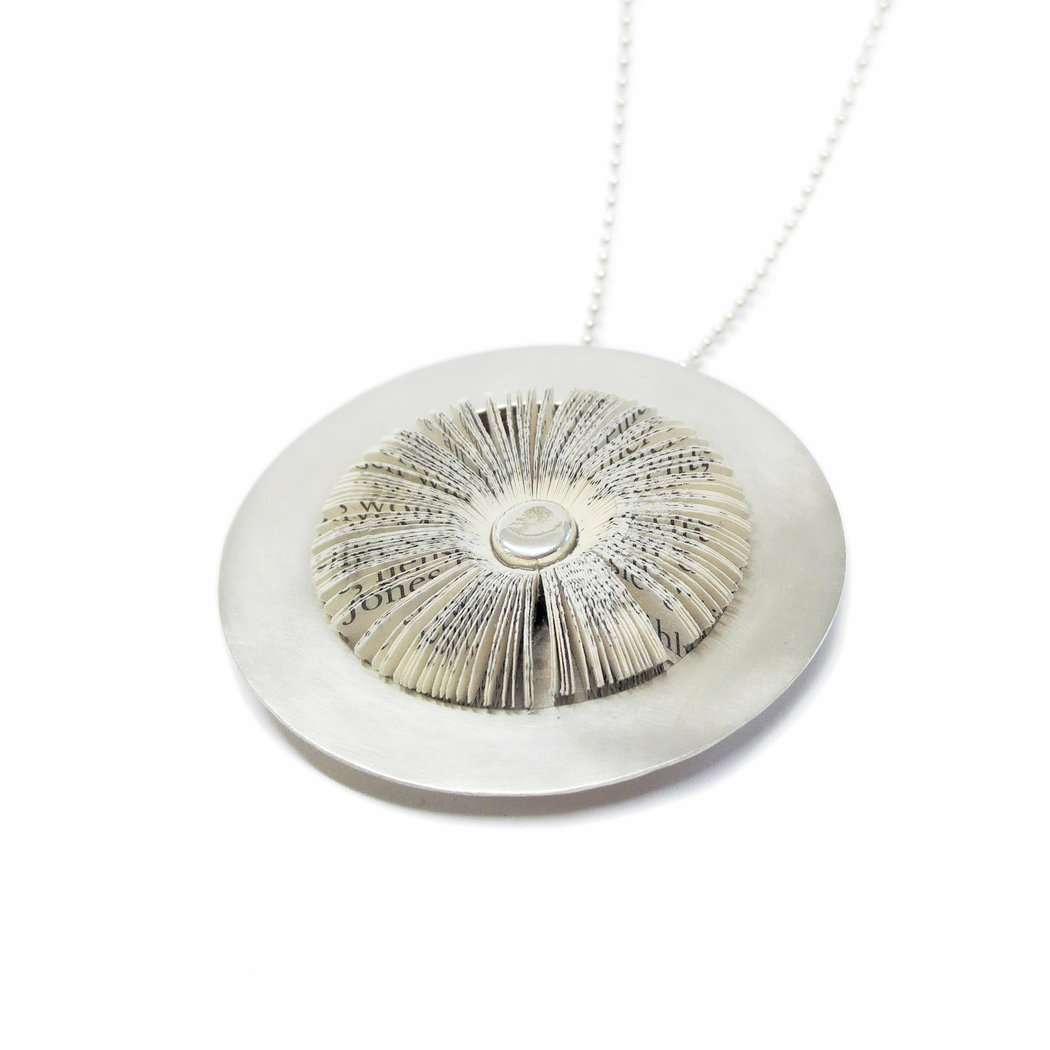 Literary blossom pendant in silver setting 50 mm
