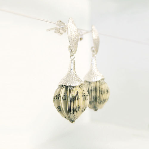 Paper jewel ear studs - book fragments and silver acorn