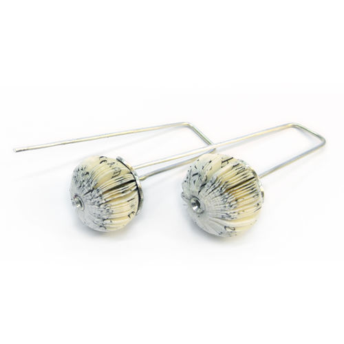 earrings book fragments and silver small ball sphere flower