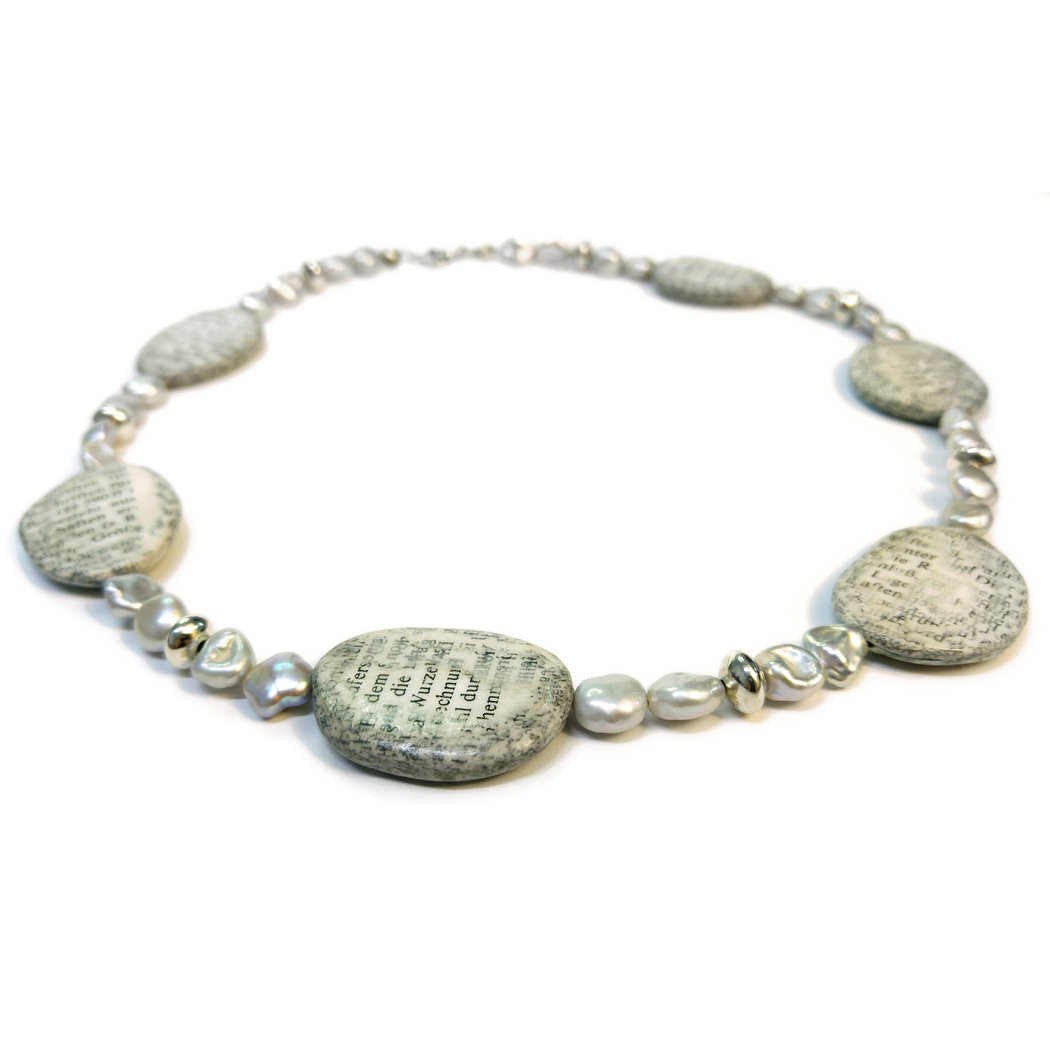 "Necklace ""Pebbles from the river of knowledge"" silver"