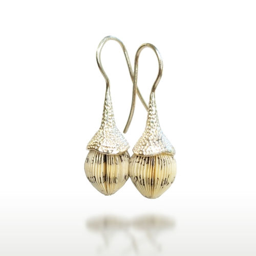 ACORN earrings - book pages and silver cone
