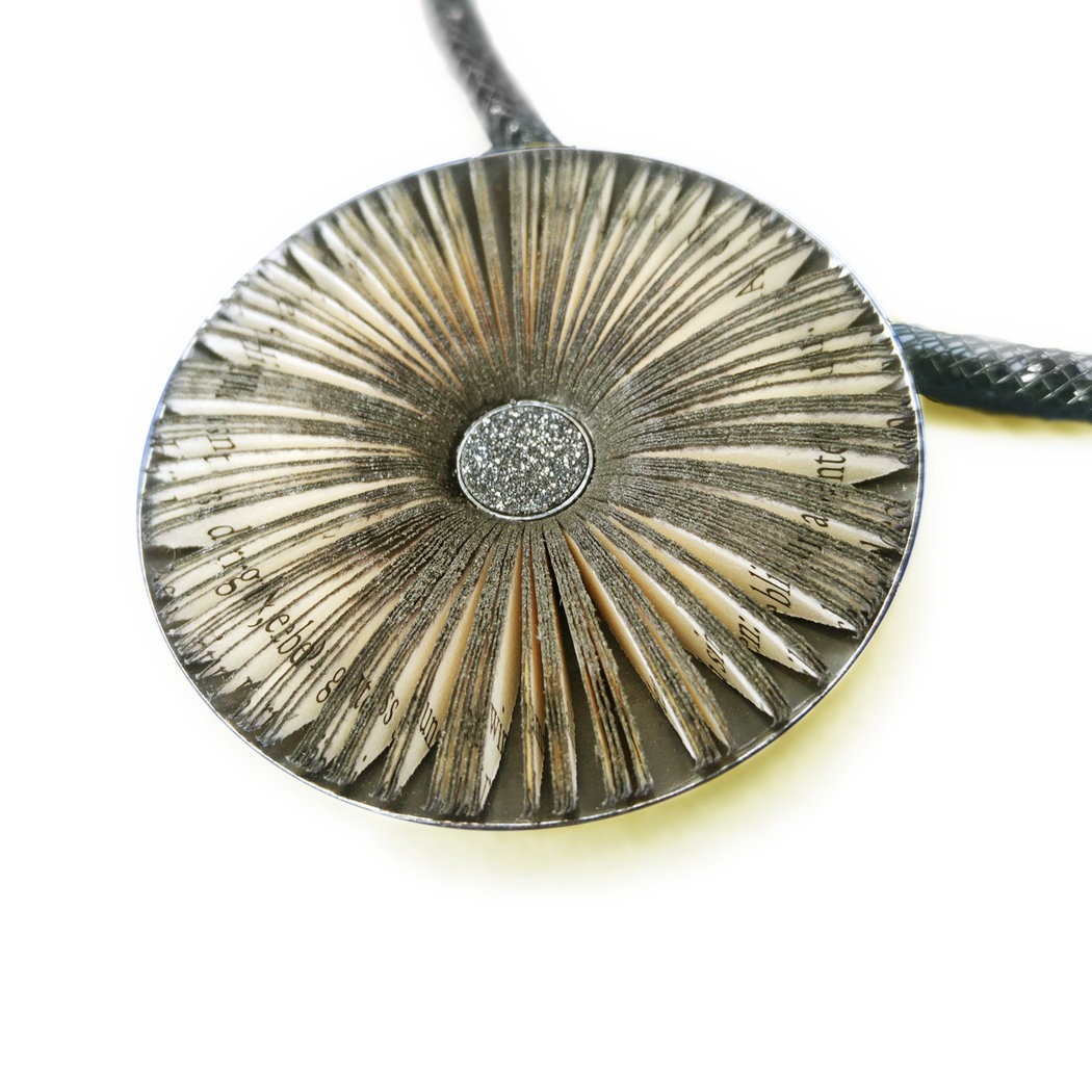 Literary blossom pendant in silver setting 48 mm